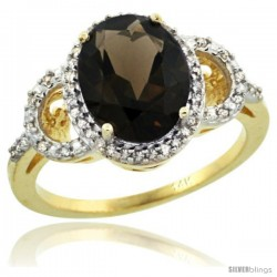 14k Yellow Gold Diamond Halo Smoky Topaz Ring 2.4 ct Oval Stone 10x8 mm, 1/2 in wide