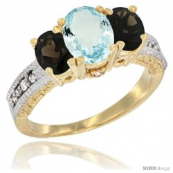 14k Yellow Gold Ladies Oval Natural Aquamarine 3-Stone Ring with Smoky Topaz Sides Diamond Accent