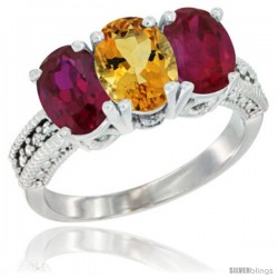 14K White Gold Natural Citrine & Ruby Sides Ring 3-Stone Oval 7x5 mm Diamond Accent