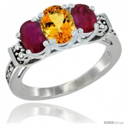 14K White Gold Natural Citrine & Ruby Ring 3-Stone Oval with Diamond Accent