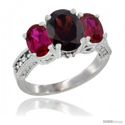 14K White Gold Ladies 3-Stone Oval Natural Garnet Ring with Ruby Sides Diamond Accent
