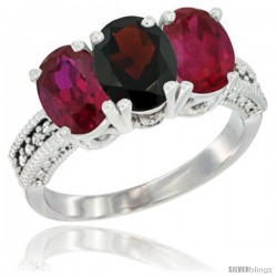 14K White Gold Natural Garnet & Ruby Sides Ring 3-Stone Oval 7x5 mm Diamond Accent