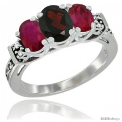 14K White Gold Natural Garnet & Ruby Ring 3-Stone Oval with Diamond Accent