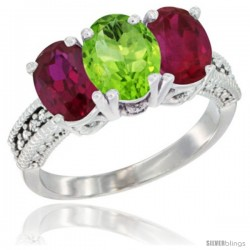 14K White Gold Natural Peridot & Ruby Sides Ring 3-Stone Oval 7x5 mm Diamond Accent