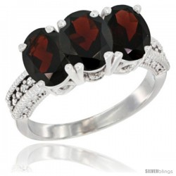 14K White Gold Natural Garnet Ring 3-Stone 7x5 mm Oval Diamond Accent
