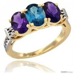 10K Yellow Gold Natural London Blue Topaz & Amethyst Sides Ring 3-Stone Oval 7x5 mm Diamond Accent