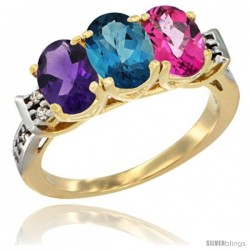 10K Yellow Gold Natural Amethyst, London Blue Topaz & Pink Topaz Ring 3-Stone Oval 7x5 mm Diamond Accent