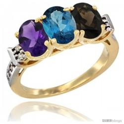 10K Yellow Gold Natural Amethyst, London Blue Topaz & Smoky Topaz Ring 3-Stone Oval 7x5 mm Diamond Accent