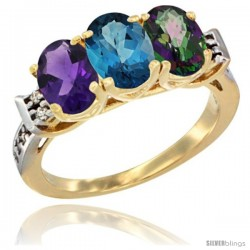 10K Yellow Gold Natural Amethyst, London Blue Topaz & Mystic Topaz Ring 3-Stone Oval 7x5 mm Diamond Accent
