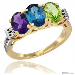 10K Yellow Gold Natural Amethyst, London Blue Topaz & Peridot Ring 3-Stone Oval 7x5 mm Diamond Accent