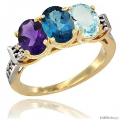 10K Yellow Gold Natural Amethyst, London Blue Topaz & Aquamarine Ring 3-Stone Oval 7x5 mm Diamond Accent