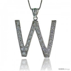 Sterling Silver Cubic Zirconia Block Initial Letter W Alphabet Pendant, 1 5/8 in