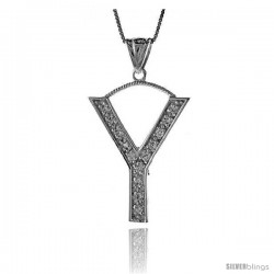 Sterling Silver Cubic Zirconia Block Initial Letter Y Alphabet Pendant, 1 5/8 in