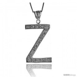 Sterling Silver Cubic Zirconia Block Initial Letter Z Alphabet Pendant, 1 5/8 in