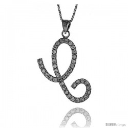 Sterling Silver Script Initial Letter C Alphabet Pendant with Cubic Zirconia Stones, 1 3/8 long