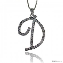 Sterling Silver Script Initial Letter D Alphabet Pendant with Cubic Zirconia Stones, 1 3/8 long