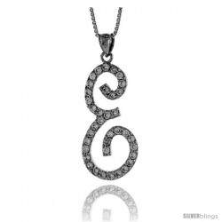 Sterling Silver Script Initial Letter E Alphabet Pendant with Cubic Zirconia Stones, 1 3/8 long