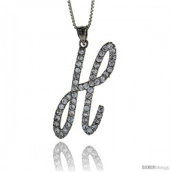 Sterling Silver Script Initial Letter H Alphabet Pendant with Cubic Zirconia Stones, 1 3/8 long