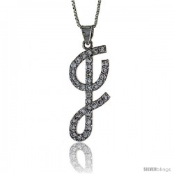 Sterling Silver Script Initial Letter I Alphabet Pendant with Cubic Zirconia Stones, 1 3/8 long