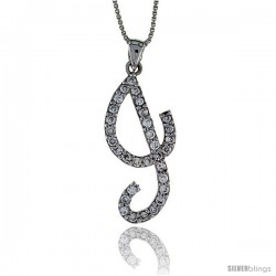 Sterling Silver Script Initial Letter J Alphabet Pendant with Cubic Zirconia Stones, 1 3/8 long