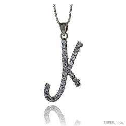 Sterling Silver Script Initial Letter K Alphabet Pendant with Cubic Zirconia Stones, 1 3/8 long