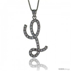 Sterling Silver Script Initial Letter L Alphabet Pendant with Cubic Zirconia Stones, 1 3/8 long