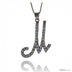 Sterling Silver Script Initial Letter M Alphabet Pendant with Cubic Zirconia Stones, 1 3/8 long