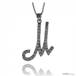 Sterling Silver Script Initial Letter M Alphabet Pendant with Cubic Zirconia Stones, 1 3/8 long