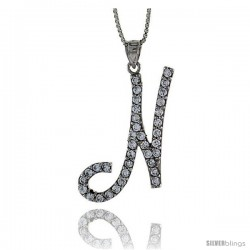 Sterling Silver Script Initial Letter N Alphabet Pendant with Cubic Zirconia Stones, 1 3/8 long