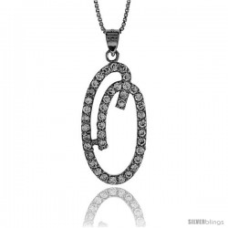 Sterling Silver Script Initial Letter O Alphabet Pendant with Cubic Zirconia Stones, 1 3/8 long