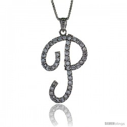 Sterling Silver Script Initial Letter P Alphabet Pendant with Cubic Zirconia Stones, 1 3/8 long
