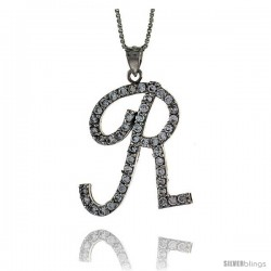 Sterling Silver Script Initial Letter R Alphabet Pendant with Cubic Zirconia Stones, 1 3/8 long