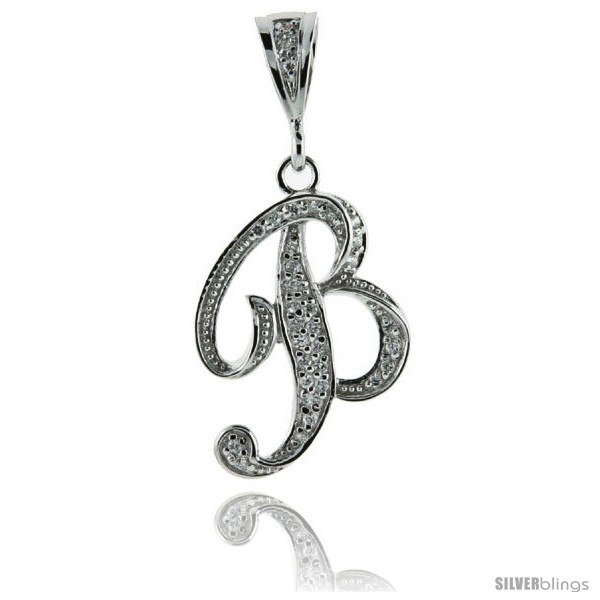 Sterling Silver Large Script Initial Letter B Pendant w/ Cubic Zirconia  Stones, 1 1/2 in tall