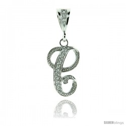 Sterling Silver Large Script Initial Letter C Pendant w/ Cubic Zirconia Stones, 1 1/2 in tall
