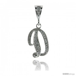 Sterling Silver Large Script Initial Letter D Pendant w/ Cubic Zirconia Stones, 1 1/2 in tall