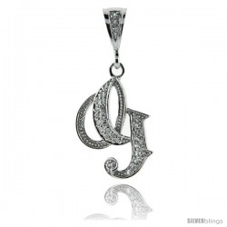 Sterling Silver Large Script Initial Letter G Pendant w/ Cubic Zirconia Stones, 1 1/2 in tall