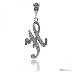 Sterling Silver Large Script Initial Letter H Pendant w/ Cubic Zirconia Stones, 1 1/2 in tall