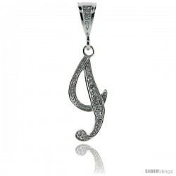 Sterling Silver Large Script Initial Letter I Pendant w/ Cubic Zirconia Stones, 1 1/2 in tall