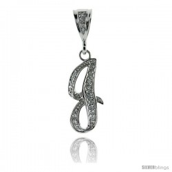 Sterling Silver Large Script Initial Letter J Pendant w/ Cubic Zirconia Stones, 1 1/2 in tall