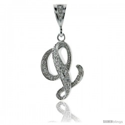 Sterling Silver Large Script Initial Letter L Pendant w/ Cubic Zirconia Stones, 1 1/2 in tall