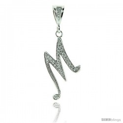 Sterling Silver Large Script Initial Letter M Pendant w/ Cubic Zirconia Stones, 1 1/2 in tall