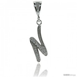 Sterling Silver Large Script Initial Letter N Pendant w/ Cubic Zirconia Stones, 1 1/2 in tall