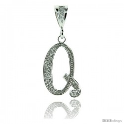 Sterling Silver Large Script Initial Letter Q Pendant w/ Cubic Zirconia Stones, 1 1/2 in tall