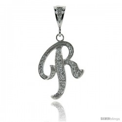 Sterling Silver Large Script Initial Letter R Pendant w/ Cubic Zirconia Stones, 1 1/2 in tall