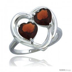 14k White Gold 2-Stone Heart Ring 6mm Natural Garnet Stones Diamond Accent