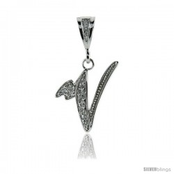 Sterling Silver Large Script Initial Letter V Pendant w/ Cubic Zirconia Stones, 1 1/2 in tall