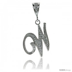 Sterling Silver Large Script Initial Letter W Pendant w/ Cubic Zirconia Stones, 1 1/2 in tall