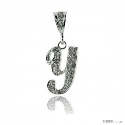 Sterling Silver Large Script Initial Letter Y Pendant w/ Cubic Zirconia Stones, 1 1/2 in tall