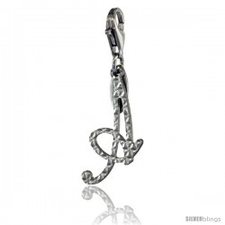 Sterling Silver Script Initial Letter A Alphabet Charm Diamond Cut Finish and Lobster Lock Clasp, 3/4 in