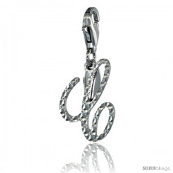 Sterling Silver Script Initial Letter C Alphabet Charm Diamond Cut Finish and Lobster Lock Clasp, 3/4 in